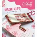 ME NOW TRUE LIPS Lip Liner Pencil มีนาว ทรู ลิปส์ ไลเนอร์ เพนซิล 1 เซ็ต มี 12 สี สีสวยมาก ทาง่ายสุดๆ
